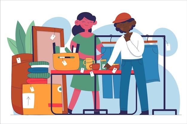 Illustrazione disegnata a mano di concetto del mercato delle pulci Vettore gratuito