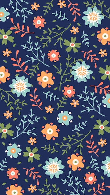 Hand-drawn floral background for mobile Free Vector