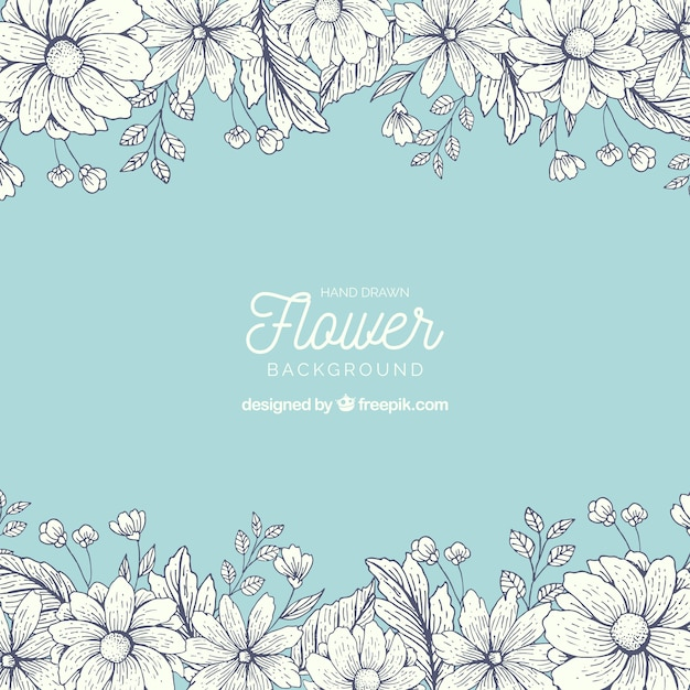 Hand drawn floral background with colorful style Free Vector