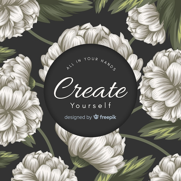 Hand drawn floral background with slogan Free Vector