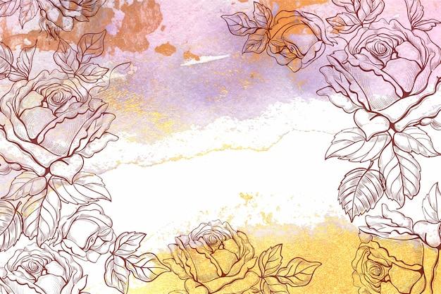 Ручной обращается цветочный фон Бесплатные векторы