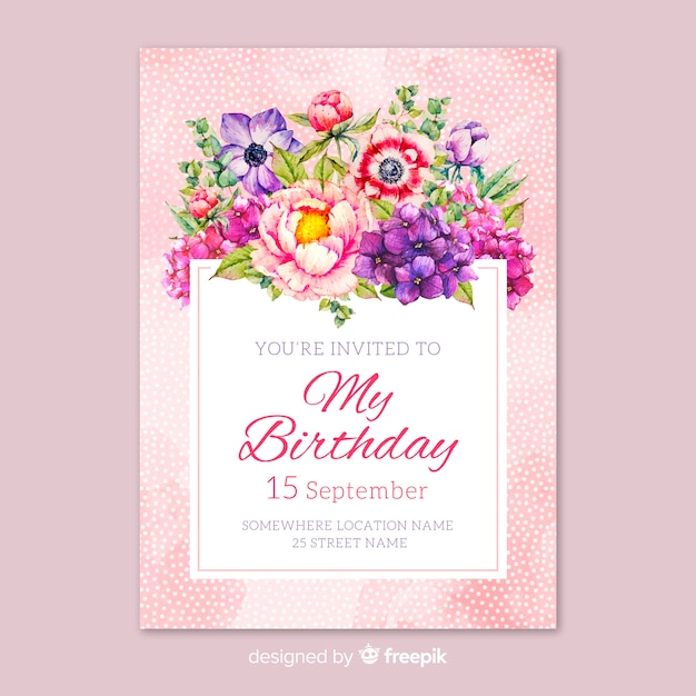 Hand drawn floral birthday invitation template Free Vector