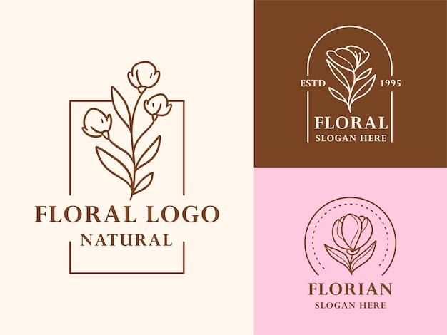 美容、自然、オーガニックブランドの手描き花植物ロゴイラストコレクション Premiumベクター