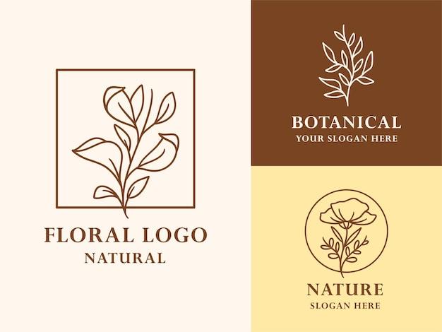 美しさのための手描き花植物ロゴイラストコレクション Premiumベクター