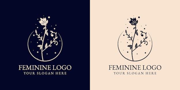 手描きの花の植物のロゴ Premiumベクター