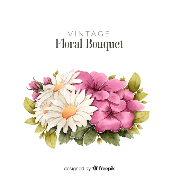 Hand drawn floral bouquet Free Vector