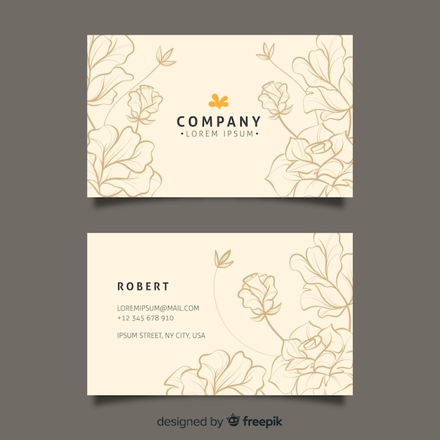 Hand drawn floral business card template Free Vector