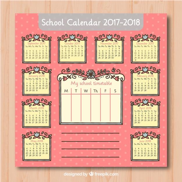 Hand drawn floral calendar 2017-2018