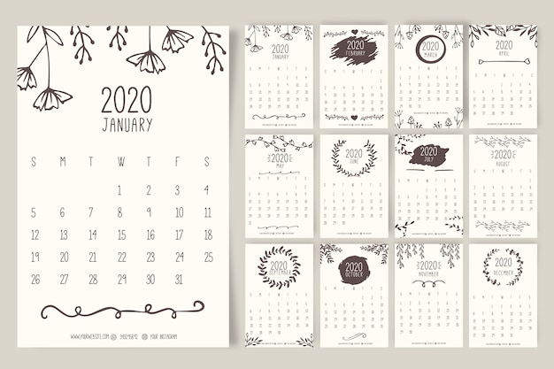 Hand drawn floral calendar 2020 template Free Vector