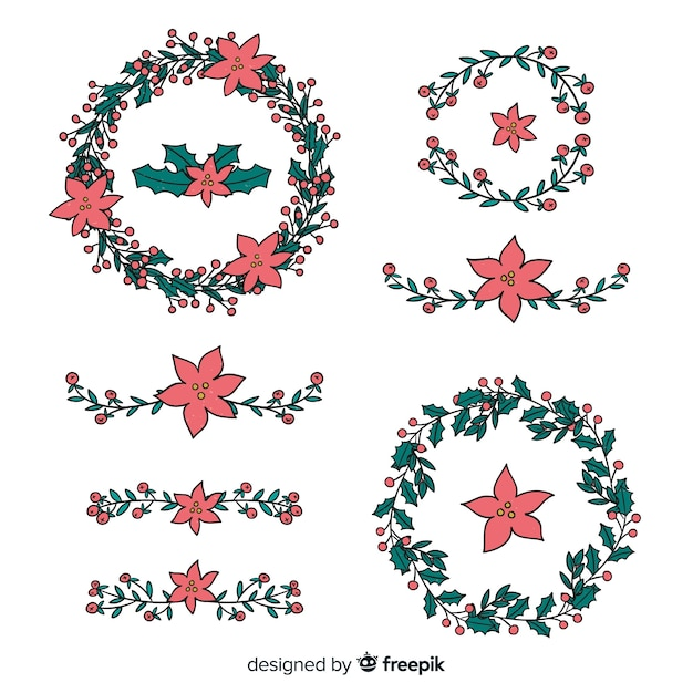 Hand drawn floral christmas wreath Free Vector