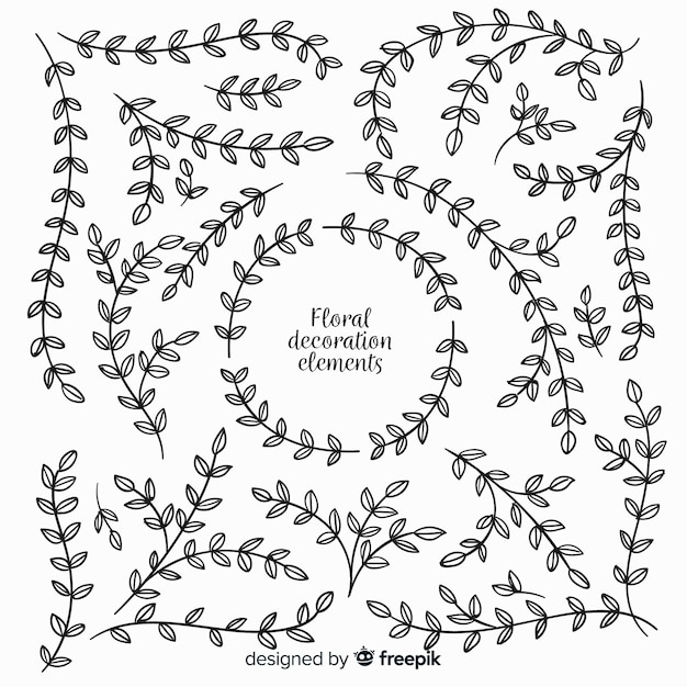 Hand drawn floral decoration elements Free Vector