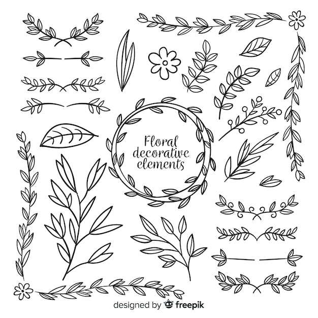 Hand drawn floral decorative element collection Free Vector