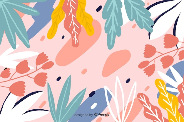 Hand drawn floral design background Free Vector