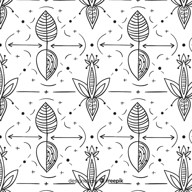 Hand drawn floral element pattern Free Vector