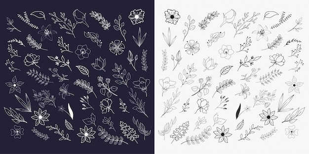 Hand drawn floral elements collections Premium Vector