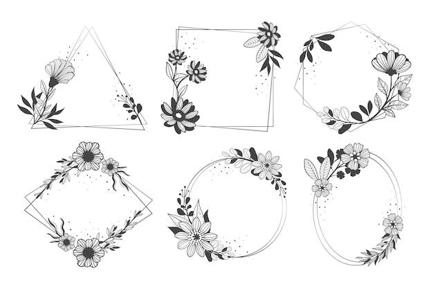 Коллекция рисованной цветочная рамка на белом фоне Premium векторы