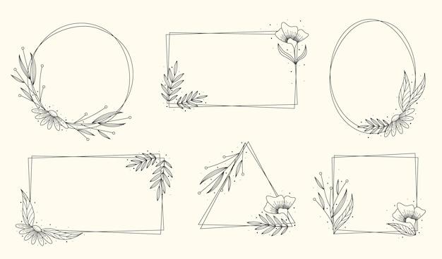 手描き花フレームコレクション 無料ベクター