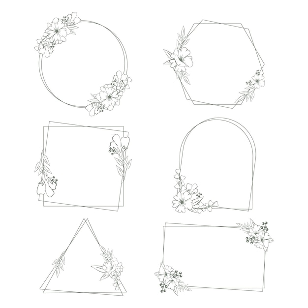 Hand drawn floral frame collection Free Vector