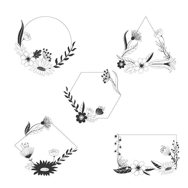 Коллекция рисованной цветочных рамок Бесплатные векторы