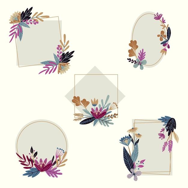 Collezione di cornici floreali disegnate a mano Vettore gratuito