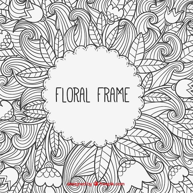 Hand drawn floral frame in doodle style Vector | Premium ...