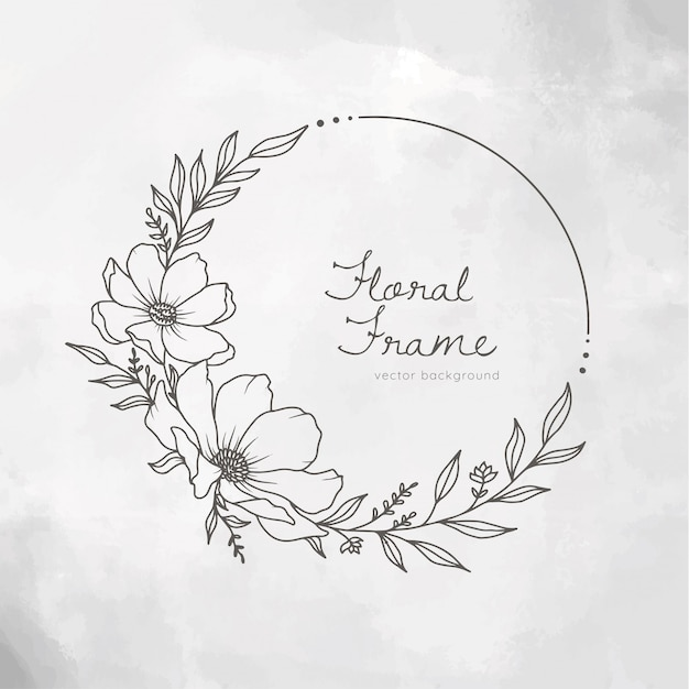 Hand drawn floral frame wreath on white painted background Premium Vector