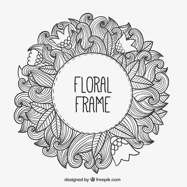 Hand drawn floral frame Vector | Free Download
