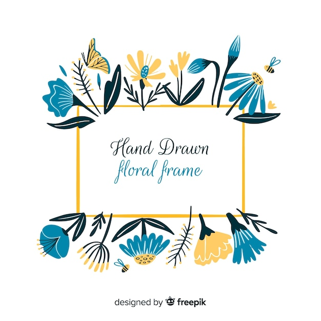 Hand drawn floral frame Free Vector