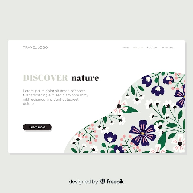 Hand drawn floral landing page Free Vector