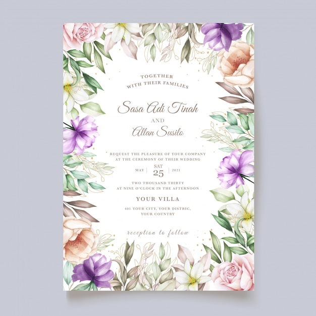 Hand drawn floral and leaves wedding invitation card Free Vector