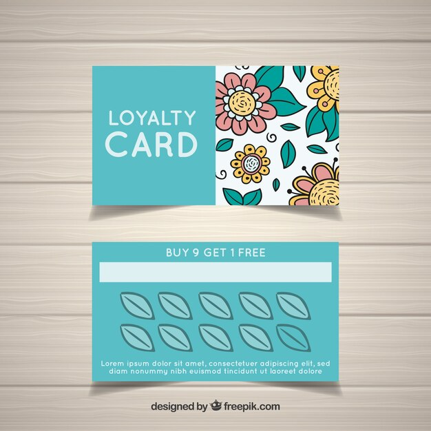 hand drawn floral loyalty card template vector free download. Black Bedroom Furniture Sets. Home Design Ideas