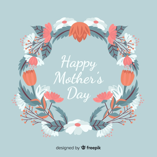 Hand drawn floral mother's day background Free Vector
