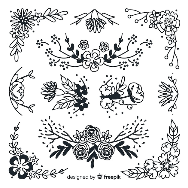 Hand drawn floral ornament collection Free Vector