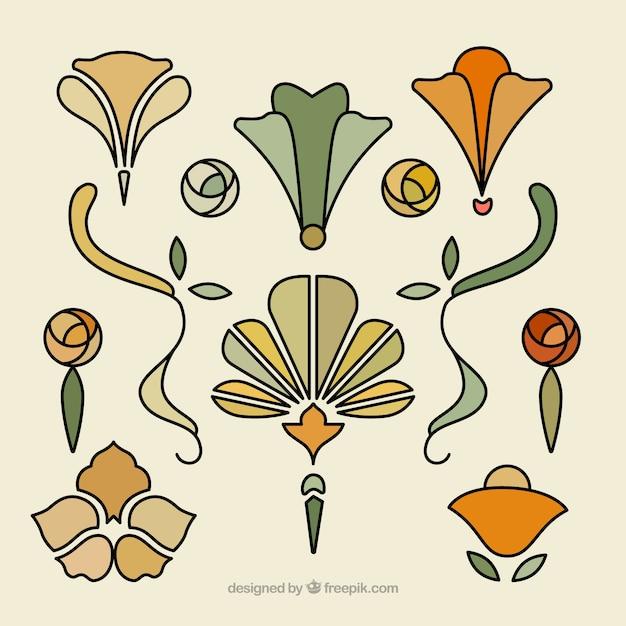 Hand drawn floral ornaments in art nouveau vector free for Ornamente jugendstil
