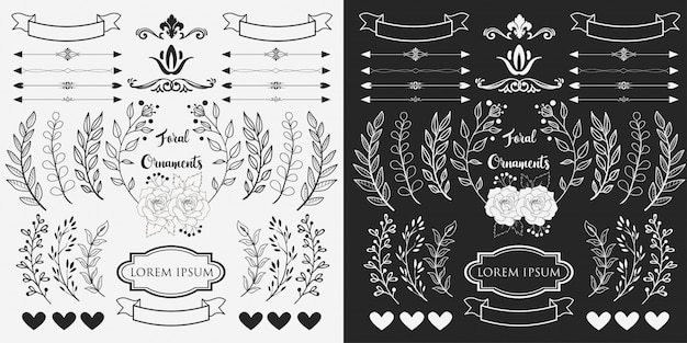 Hand drawn floral ornaments Premium Vector