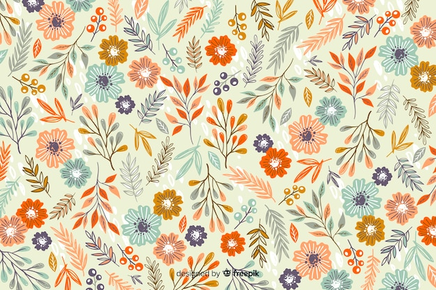 Hand drawn floral pattern background Free Vector