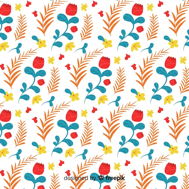 Hand drawn floral pattern Free Vector