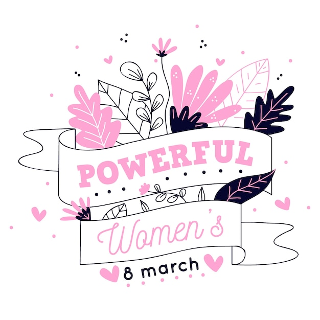 Hand drawn floral powerful women illustration Free Vector