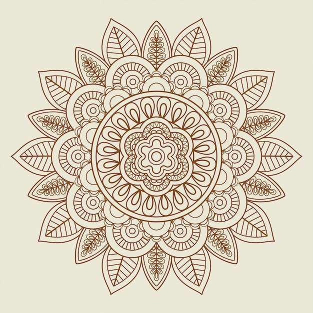 Hand drawn floral rosette in vintage colors Premium Vector