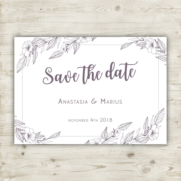Hand drawn floral save the date card Free Vector