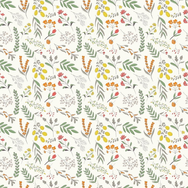 Hand drawn floral seamless pattern, colorful flowers and foliage scattered Premium Vector
