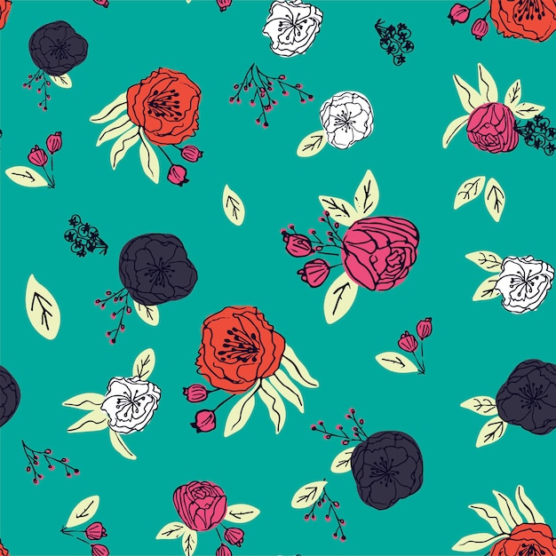 Hand drawn floral seamless pattern vector Premium Vector
