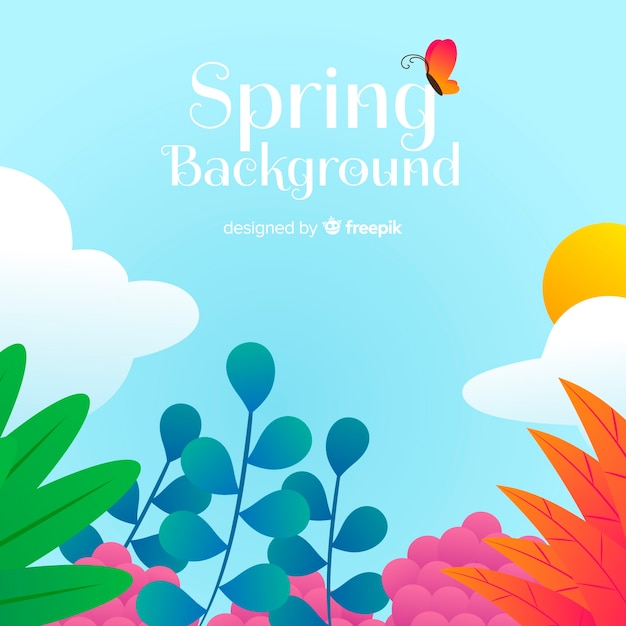 Hand drawn floral spring background Free Vector