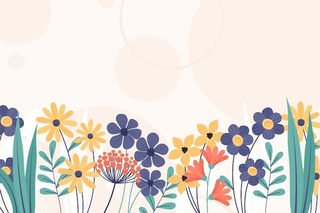 손으로 그린 꽃 봄 벽지 무료 벡터
