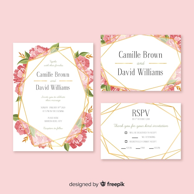 Hand drawn floral stationery template pack Free Vector