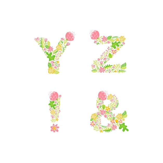 Hand drawn floral uppercase letter monograms or logo Premium Vector
