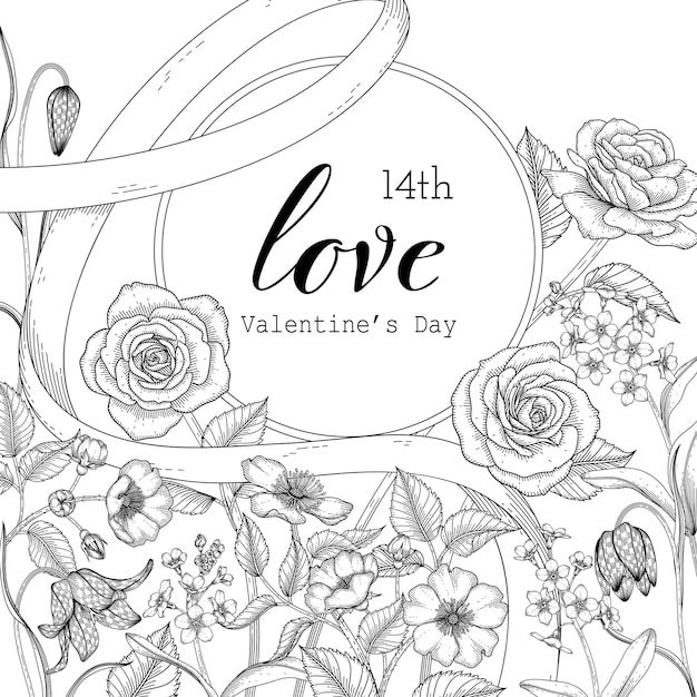 Hand drawn floral valentine's day background. Premium Vector