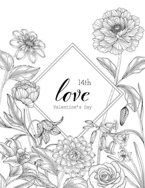 Hand drawn floral valentine's day background. Premium Vector