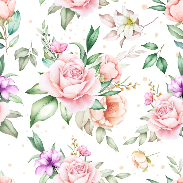 Modello senza cuciture dell'acquerello floreale disegnato a mano Vettore gratuito