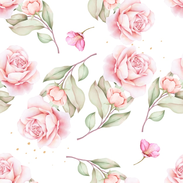 Hand drawn floral watercolor seamless pattern Free Vector